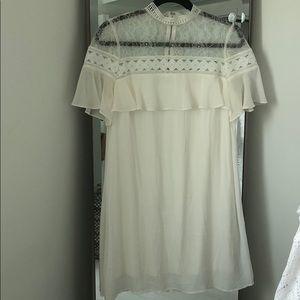 Lace Ruffle High Neck Dress
